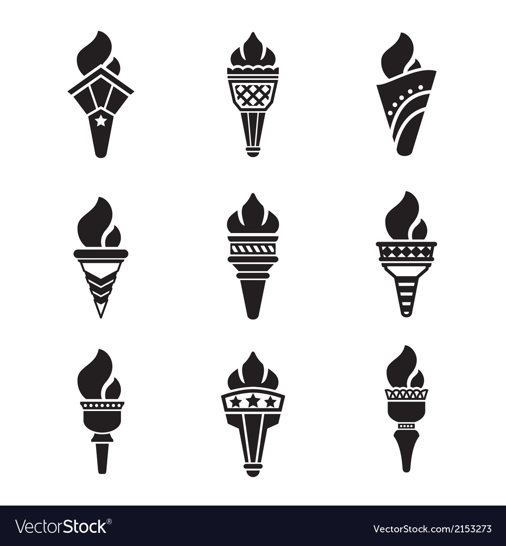 Set icons of torch vector | Price: 1 Credit (USD $1)