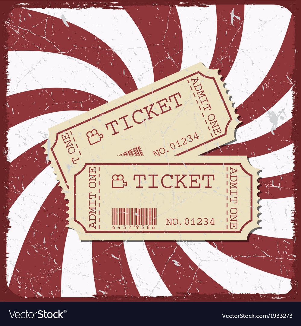 Vintage style movie poster with movie tickets vector | Price: 1 Credit (USD $1)
