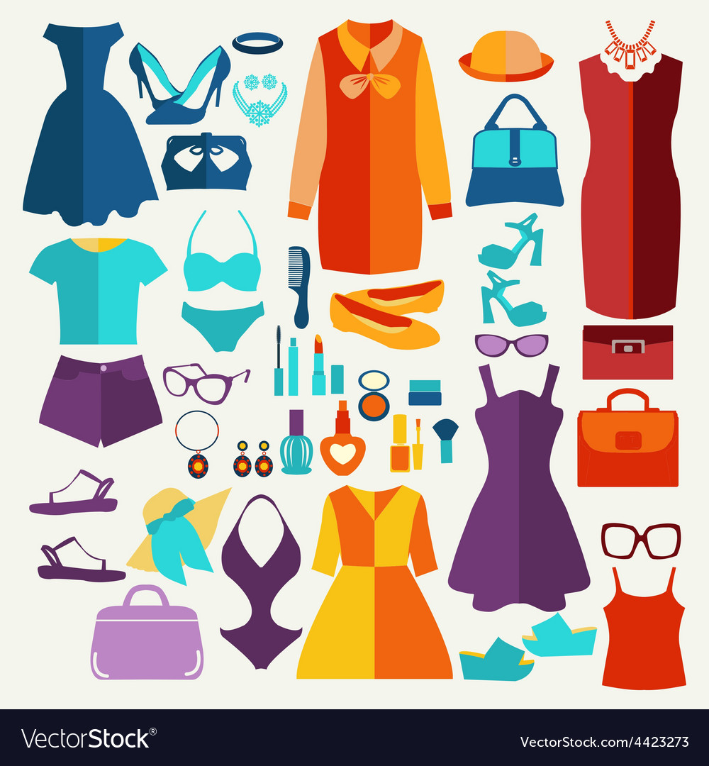 Women summer clothing in flat style vector | Price: 1 Credit (USD $1)