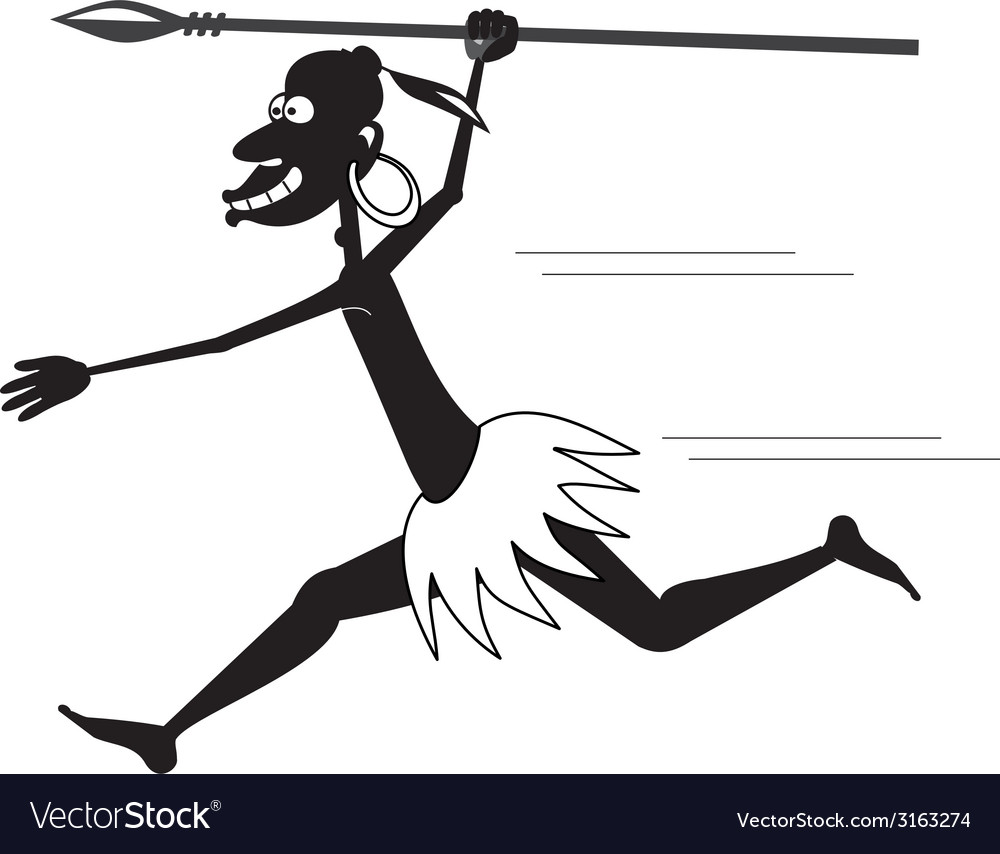 Aboriginal running bw vector | Price: 1 Credit (USD $1)
