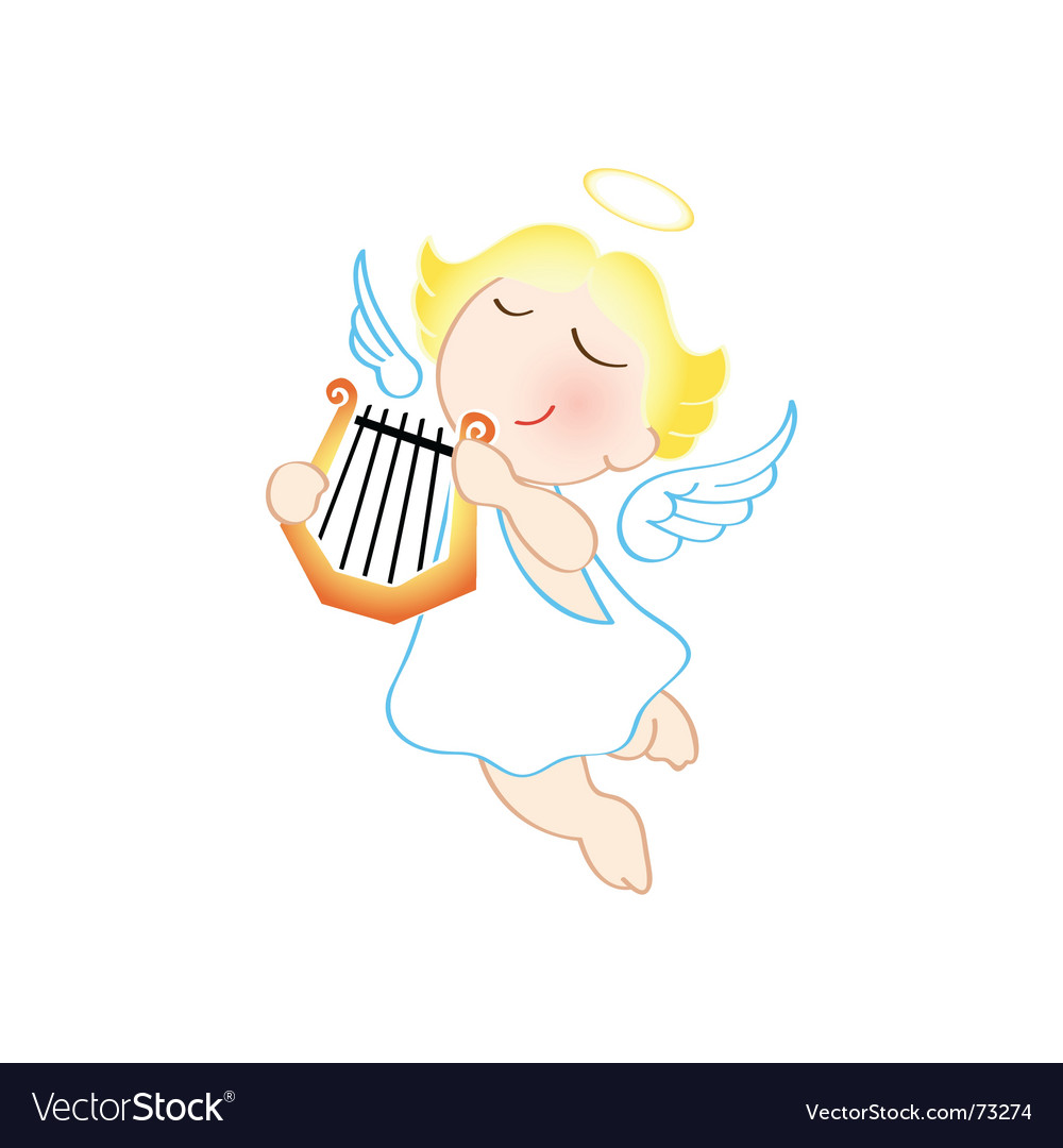 Angel with harp vector | Price: 1 Credit (USD $1)
