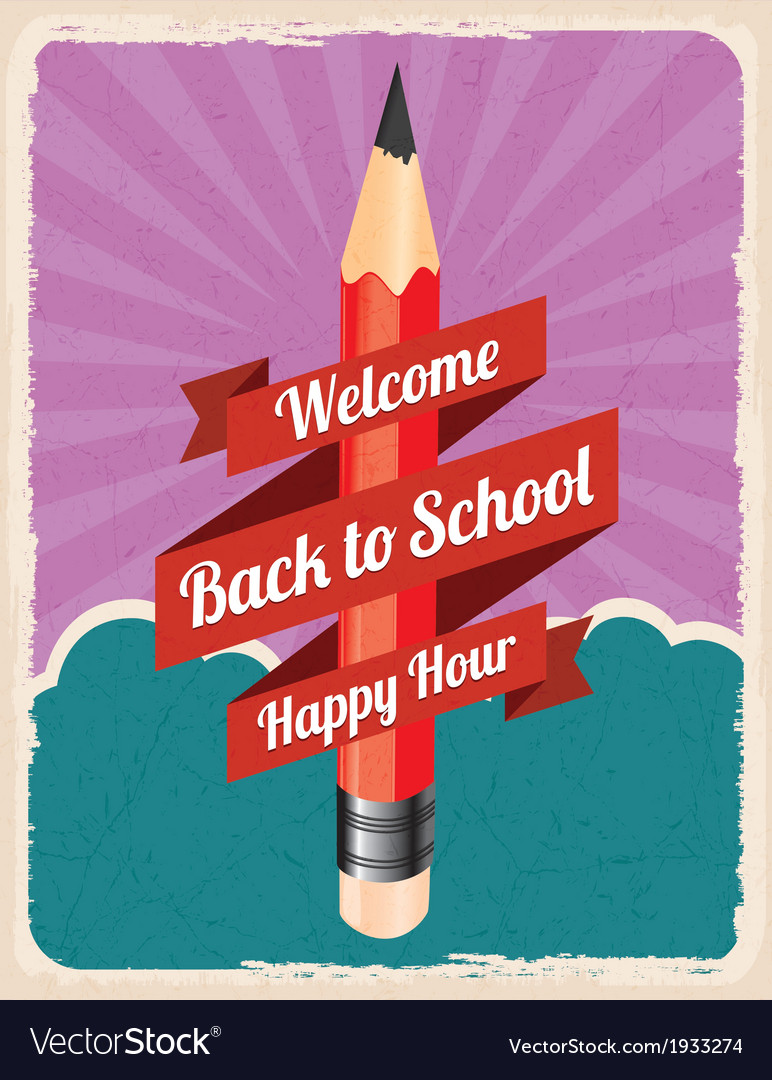 Back to school retro poster vector | Price: 1 Credit (USD $1)