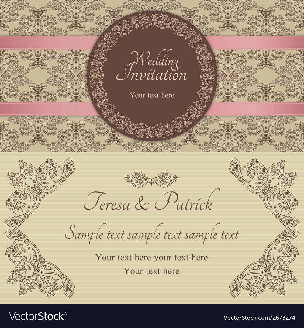 Baroque wedding invitation brown and beige vector | Price: 1 Credit (USD $1)