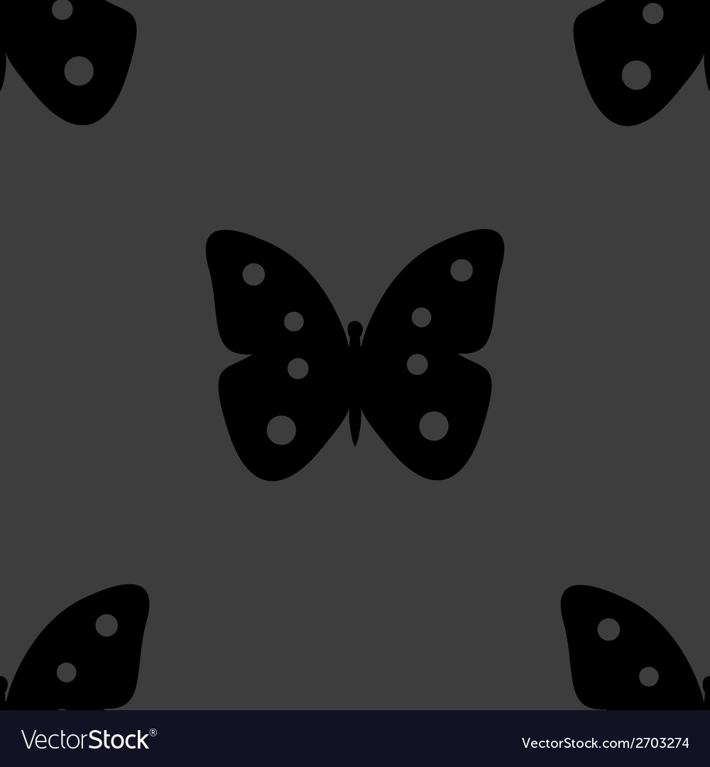 Butterfly web icon flat design seamless gray vector | Price: 1 Credit (USD $1)