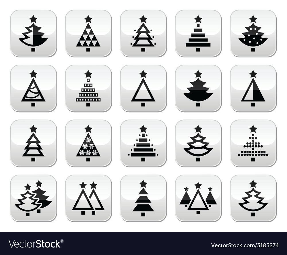 Christmas tree - various types buttons set vector | Price: 1 Credit (USD $1)