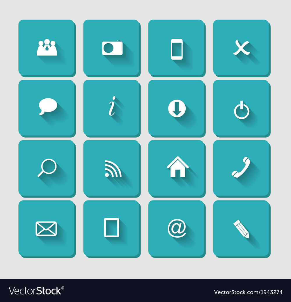 Flat icon set for web vector | Price: 1 Credit (USD $1)