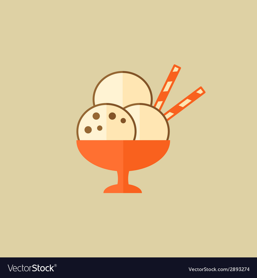 Ice cream food flat icon vector | Price: 1 Credit (USD $1)