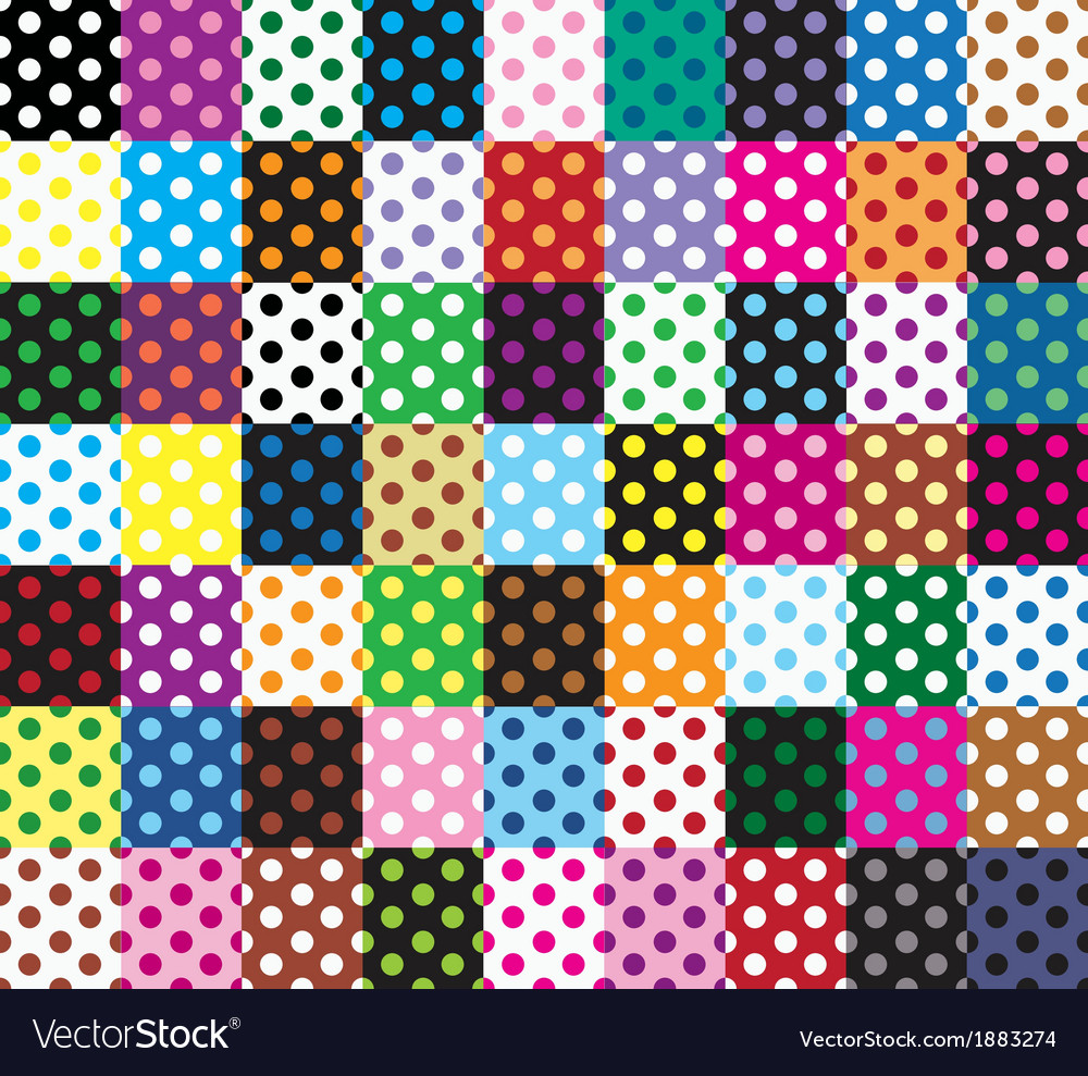 Polka dots 63 seamless patterns vector | Price: 1 Credit (USD $1)