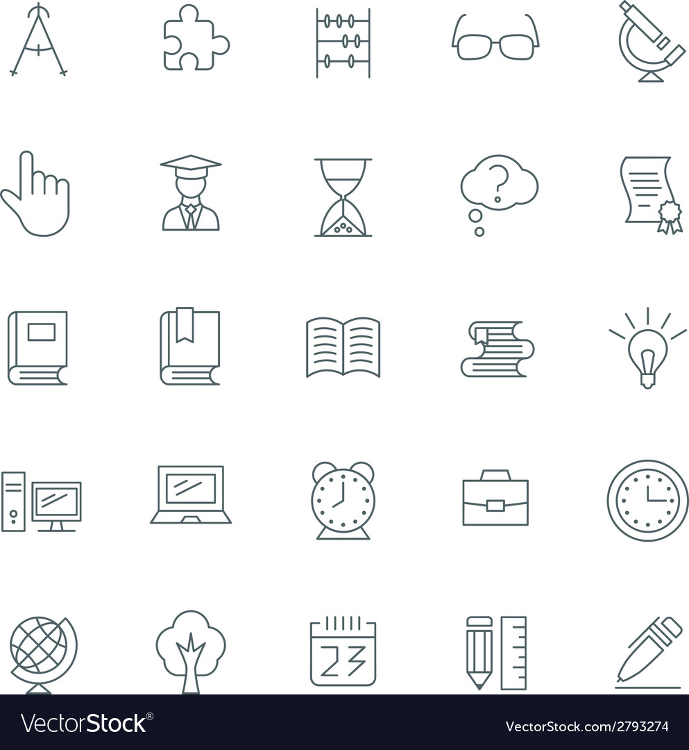 School and education icons set for web site design vector | Price: 1 Credit (USD $1)