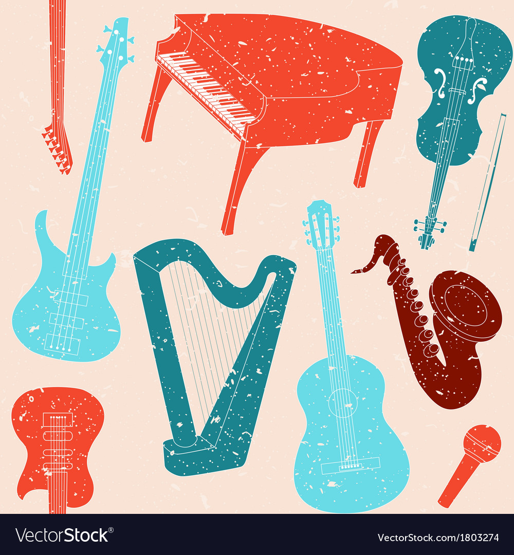 Seamless pattern with musical instruments vector | Price: 1 Credit (USD $1)