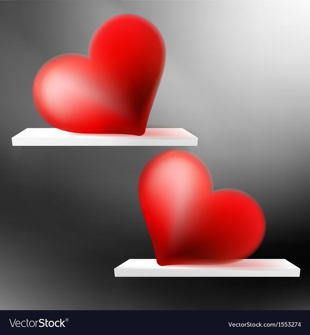 Shiny valentine hearts on shelf  eps10 vector | Price: 1 Credit (USD $1)