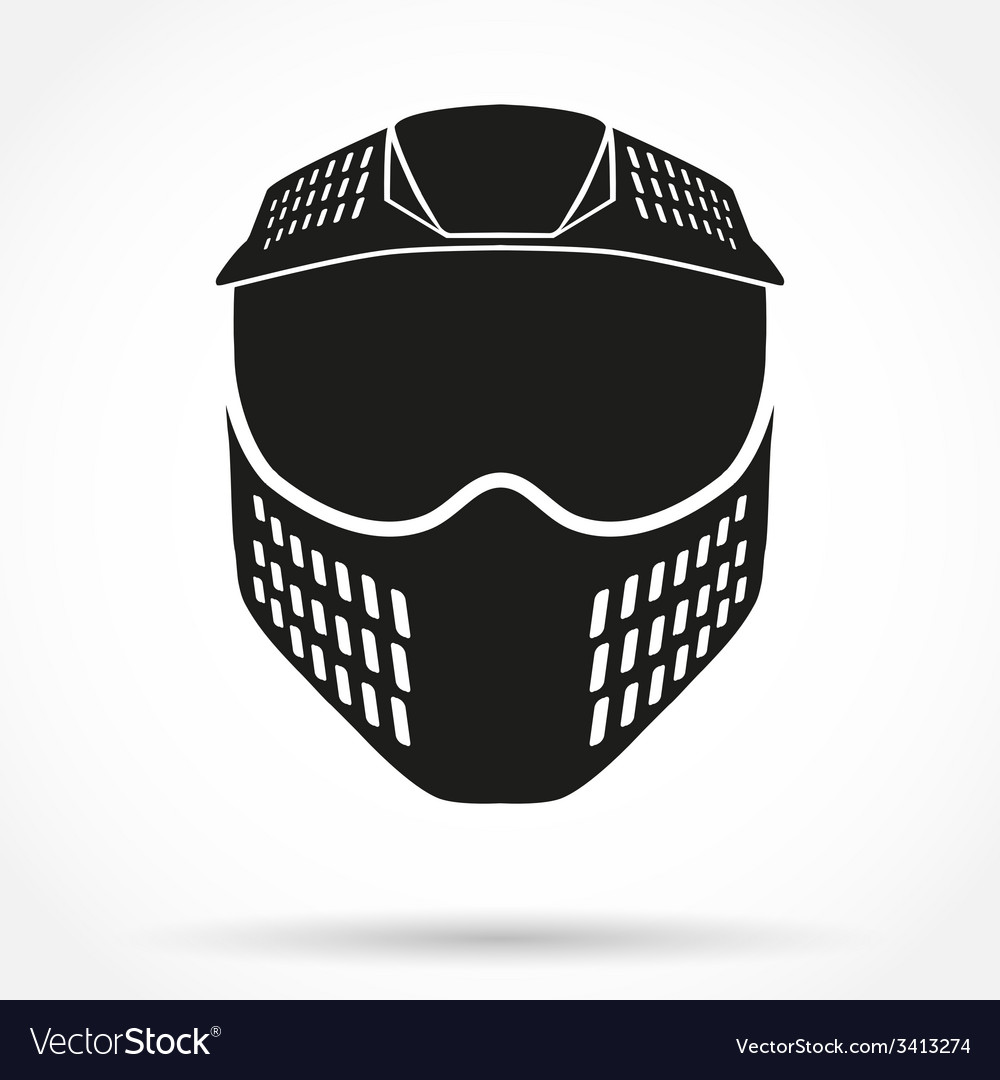 Silhouette symbol of paintball mask with goggles vector