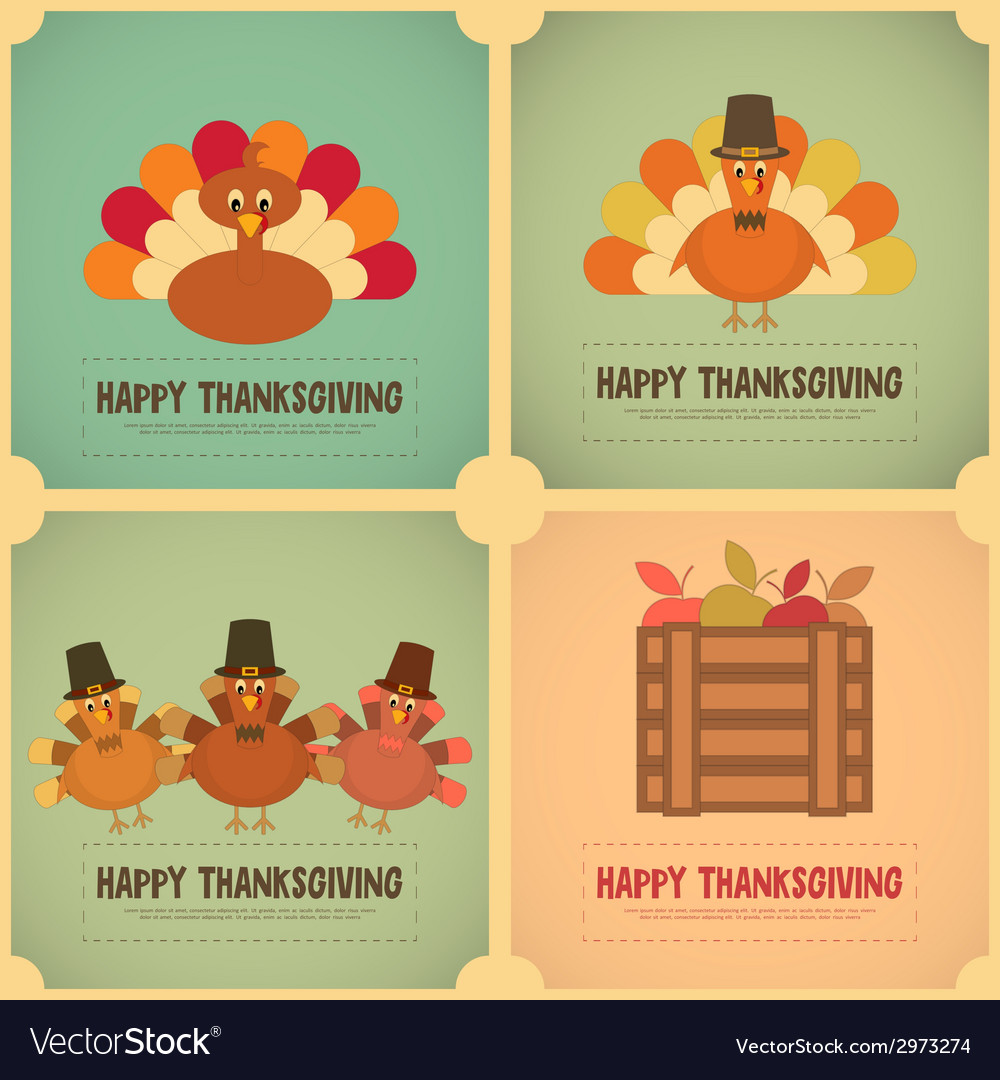 Thanksgiving day retro poster vector | Price: 1 Credit (USD $1)