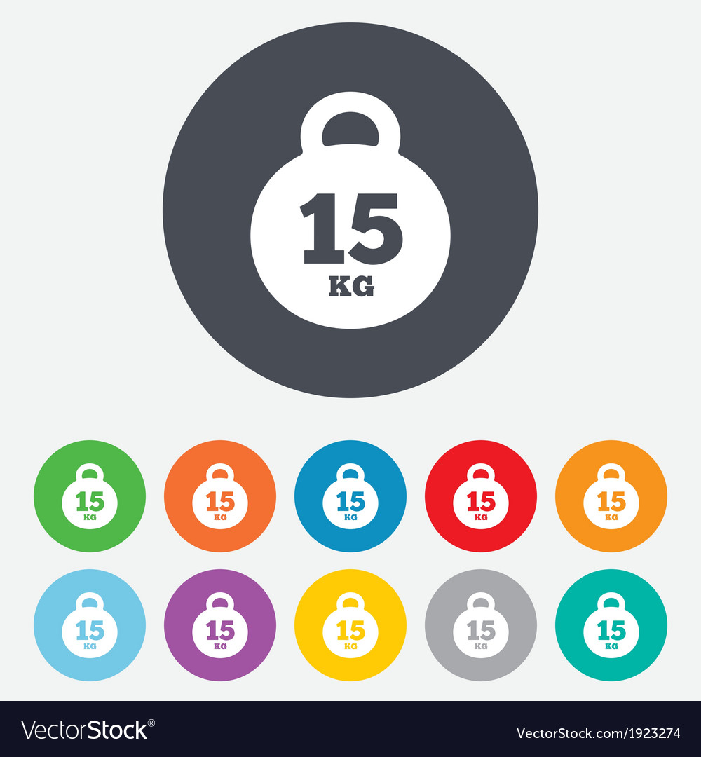 Weight sign icon 15 kilogram kg sport symbol vector | Price: 1 Credit (USD $1)