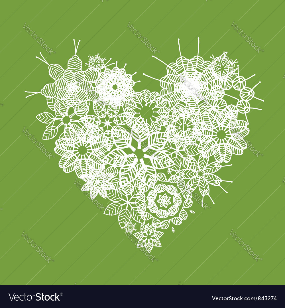 White floral heart shape vector | Price: 1 Credit (USD $1)
