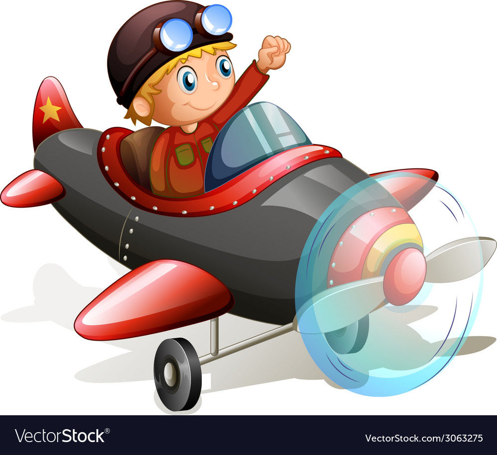 A vintage plane with a young pilot vector | Price: 1 Credit (USD $1)