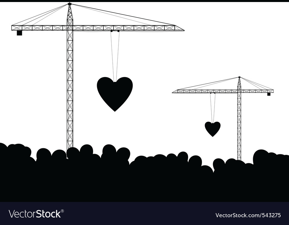 crane with hearts isolated on the white vector | Price: 1 Credit (USD $1)