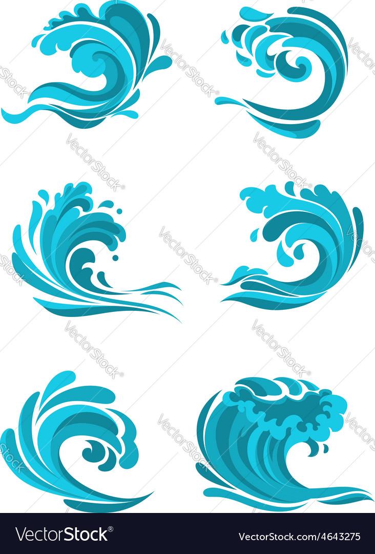 Curling sea and ocean blue waves vector | Price: 1 Credit (USD $1)