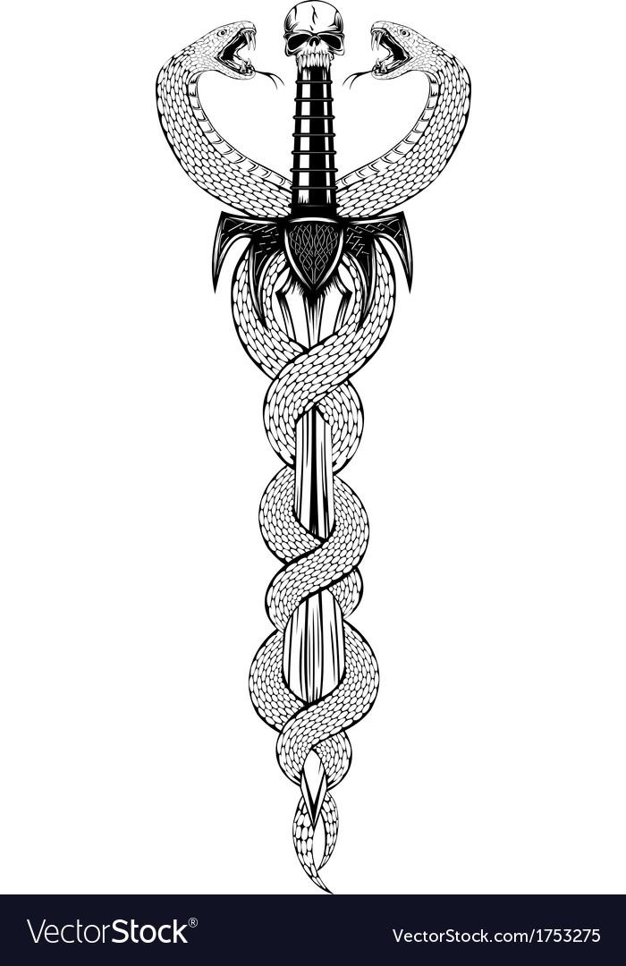 Fantasy sword and serpents vector | Price: 1 Credit (USD $1)
