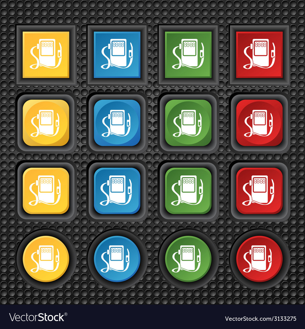 Gas fuel station sign icon symbol set of colored vector | Price: 1 Credit (USD $1)