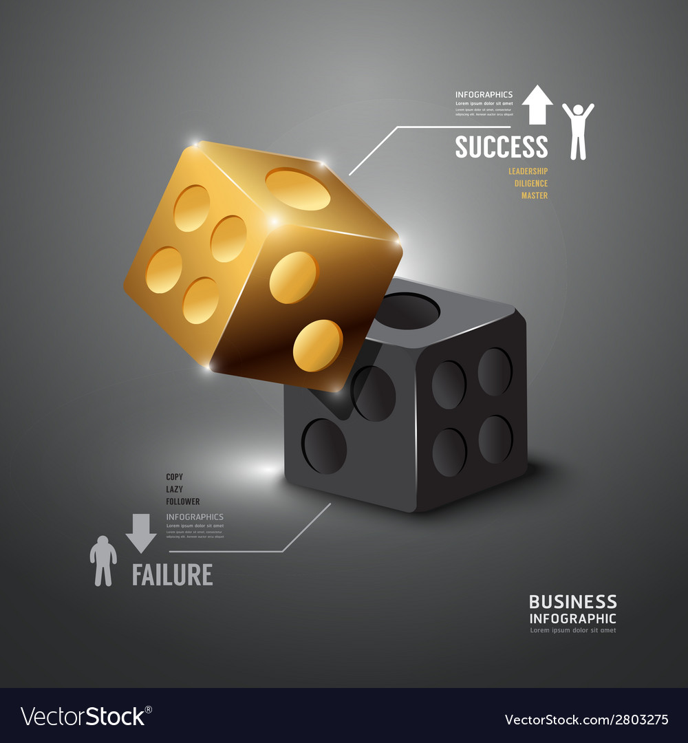 Gold dice infographic template business vector | Price: 1 Credit (USD $1)