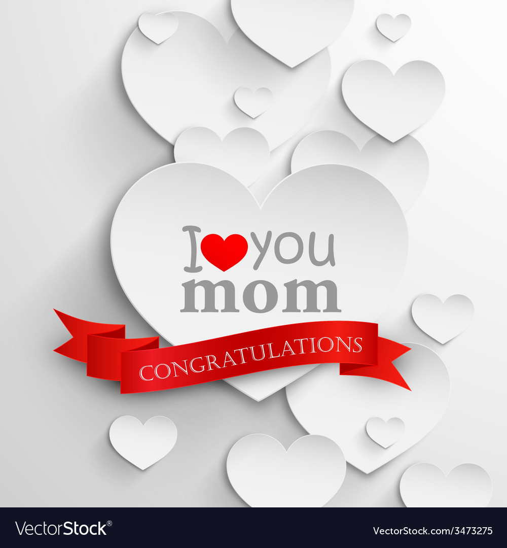 I love you mom abstract holiday background with vector | Price: 1 Credit (USD $1)