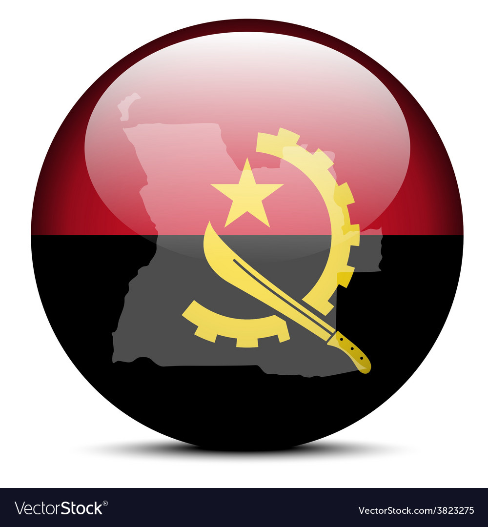 Map on flag button of republic of angola vector | Price: 1 Credit (USD $1)
