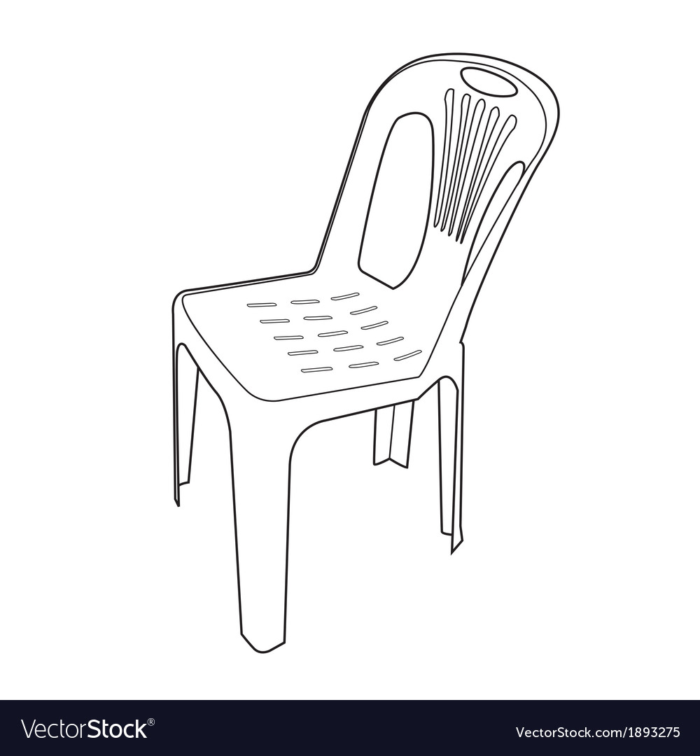 Plastic chair outline vector | Price: 1 Credit (USD $1)