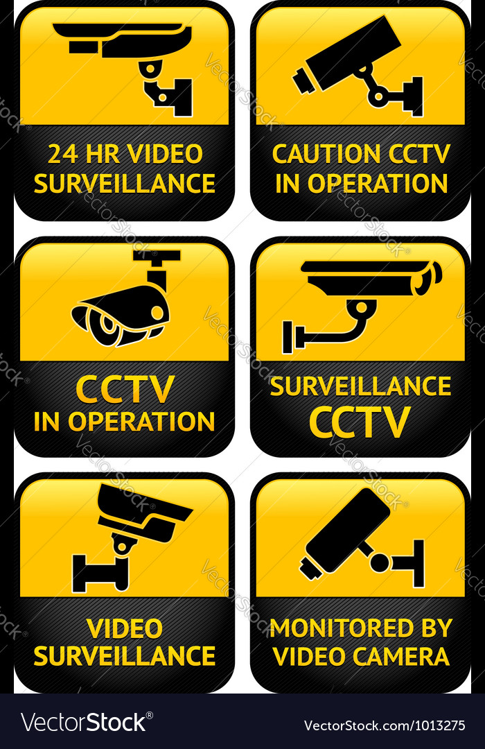 Security camera sign set vector | Price: 1 Credit (USD $1)