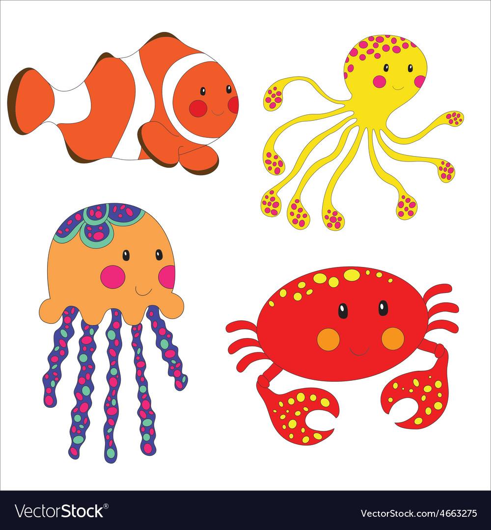 Set of cartoon sea creatures vector   Price: 1 Credit (USD $1)