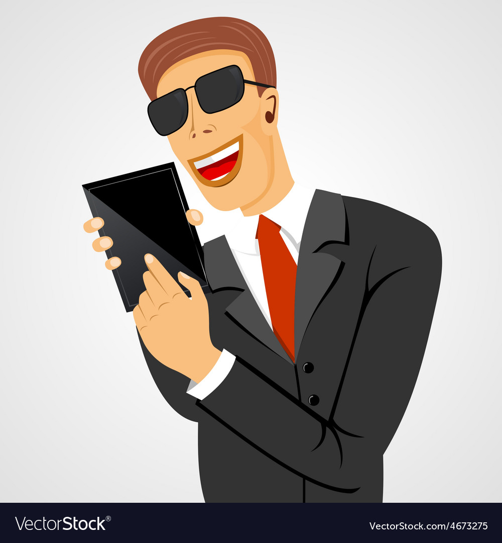 Smiling business man holding tablet vector
