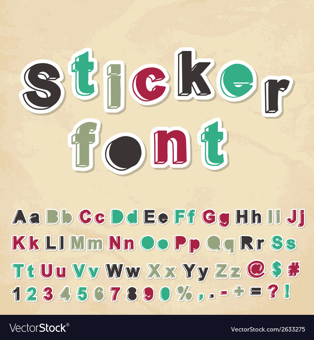 Sticker font vector | Price: 1 Credit (USD $1)