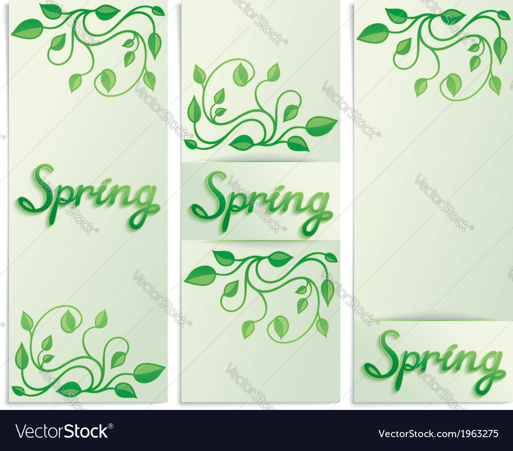 Three spring green leaves banners vector | Price: 1 Credit (USD $1)