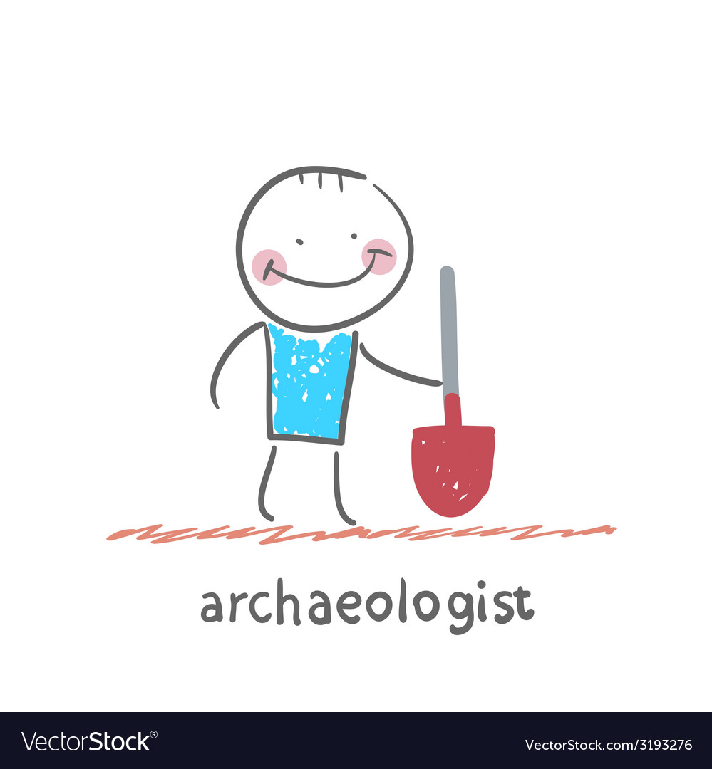 Archaeologist holding a shovel vector | Price: 1 Credit (USD $1)