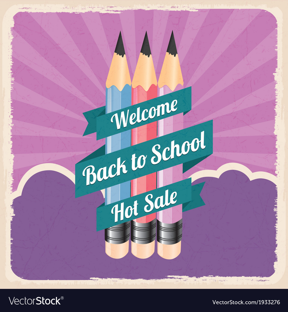 Back to school retro vintage poster vector | Price: 1 Credit (USD $1)