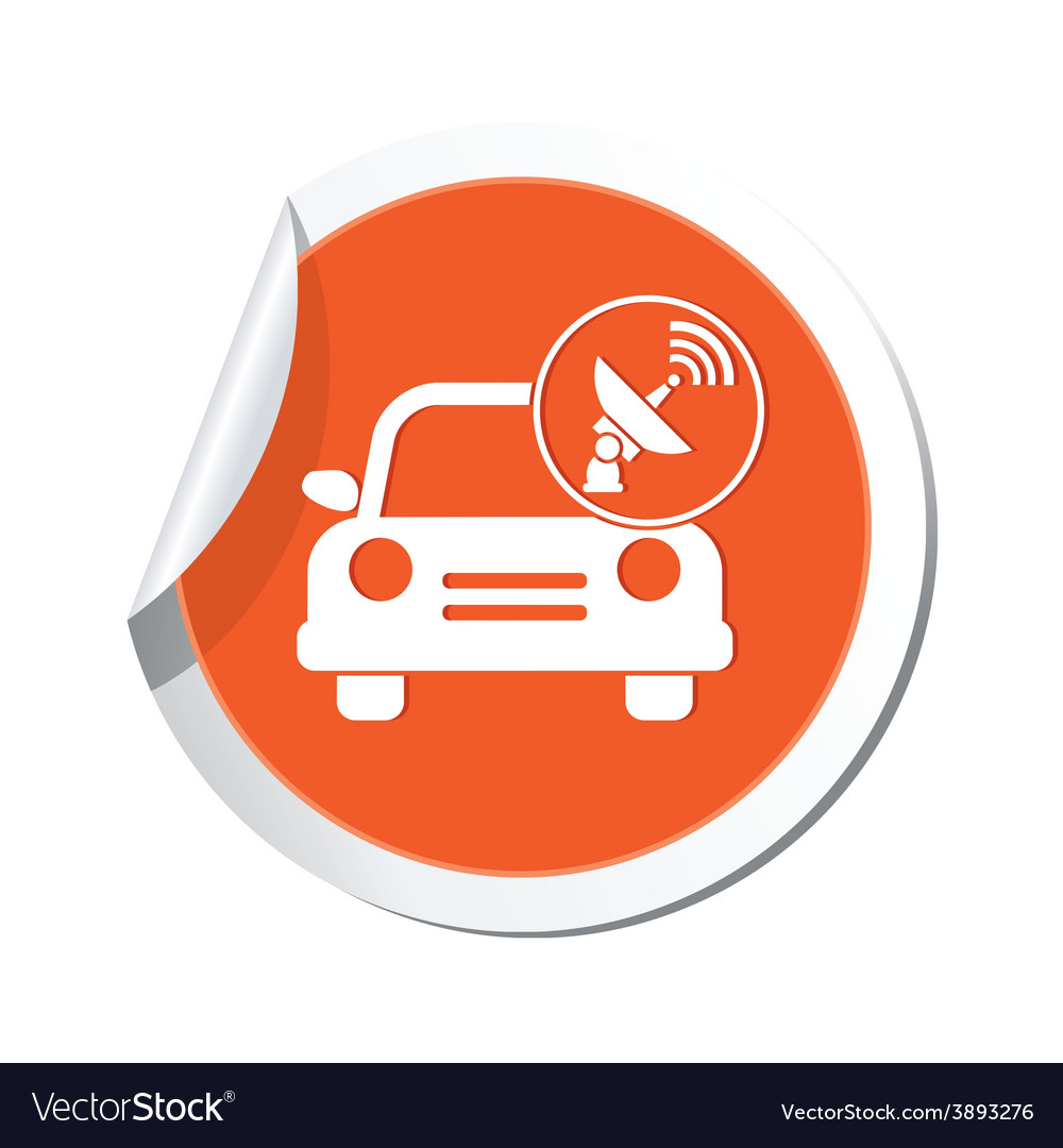 Cars satelite orange label vector | Price: 1 Credit (USD $1)