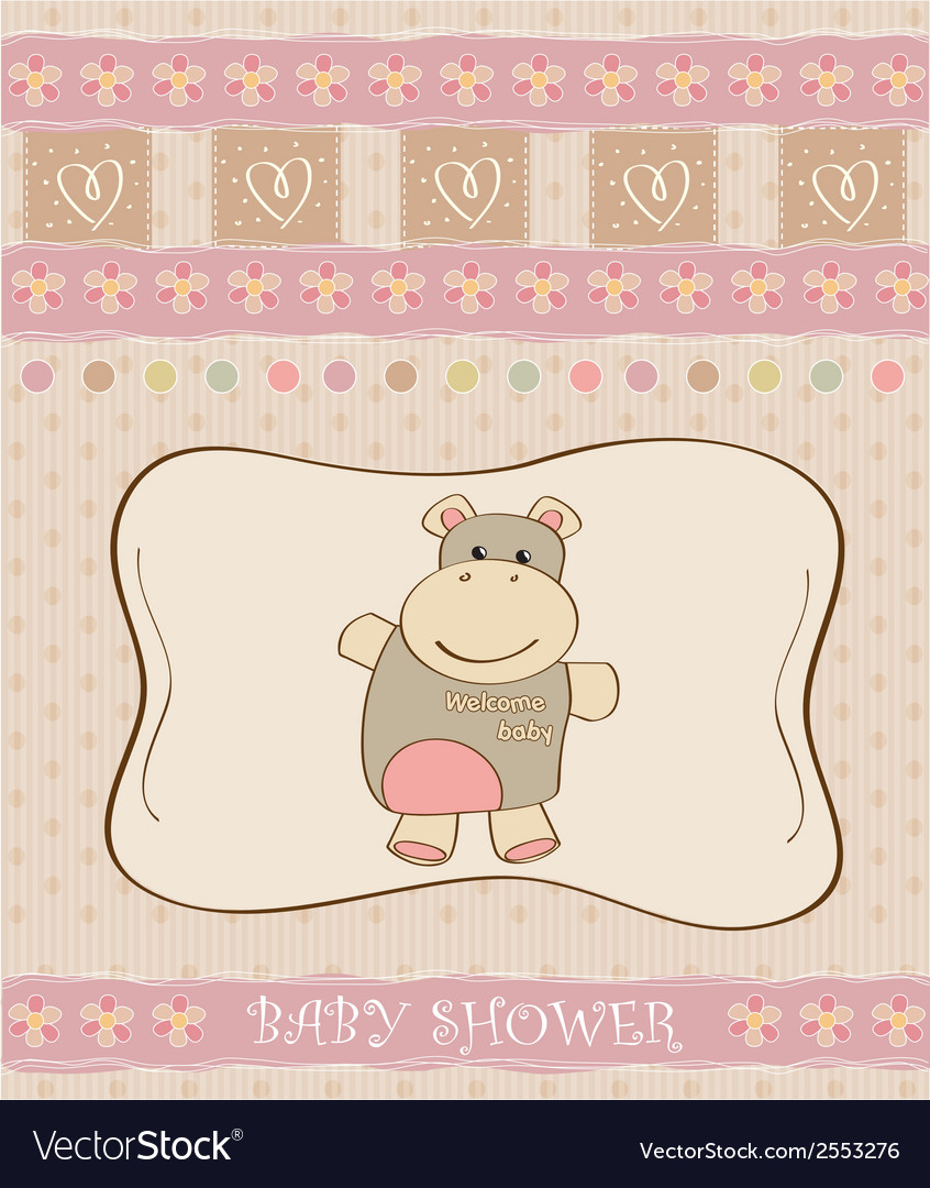 Childish baby girl announcement card with hippo vector | Price: 1 Credit (USD $1)