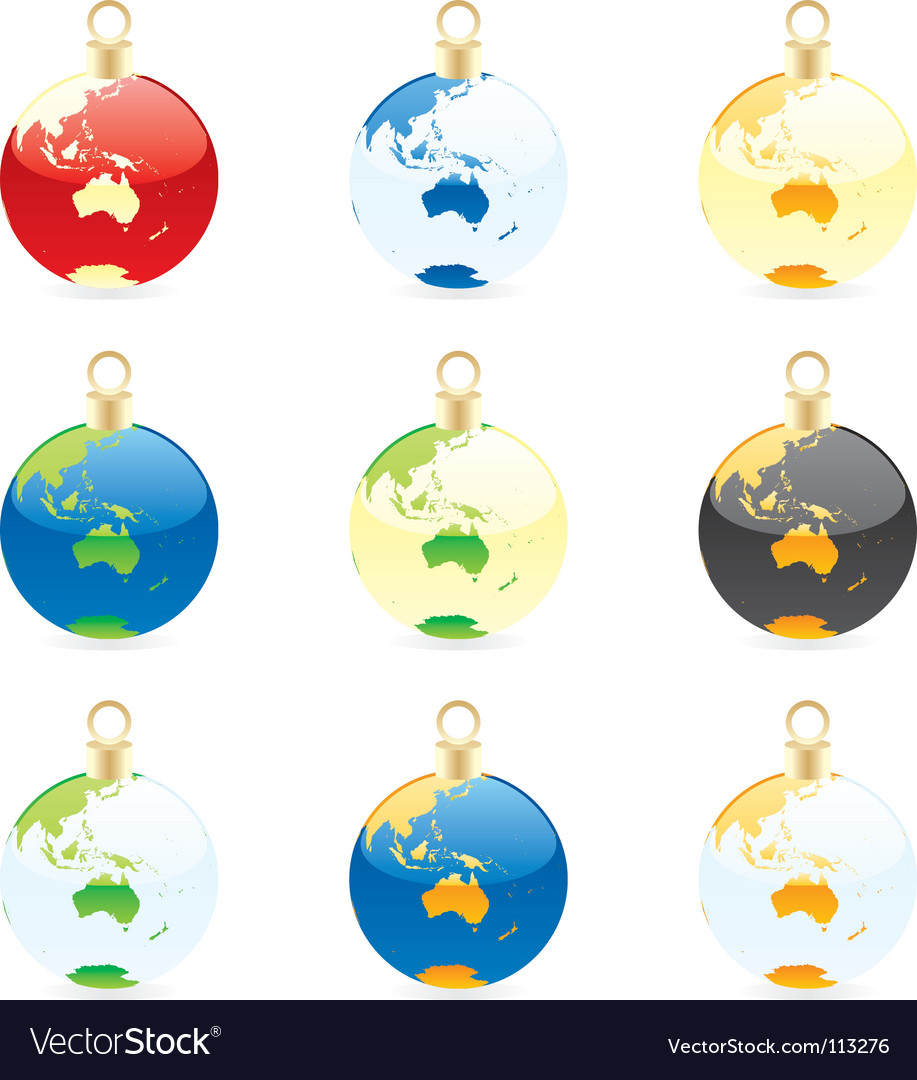Christmas bulbs world globes vector | Price: 1 Credit (USD $1)