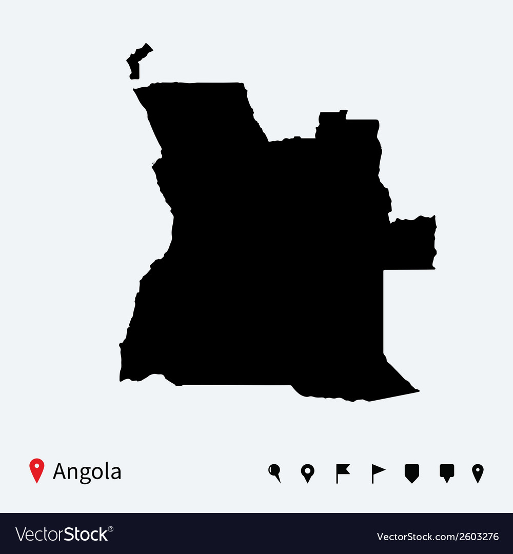 High detailed map of angola with navigation pins vector | Price: 1 Credit (USD $1)
