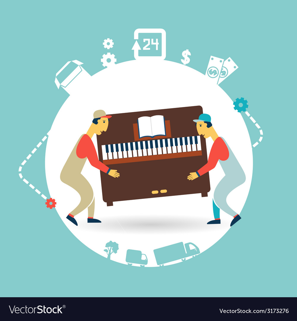 Movers carry furniture piano vector | Price: 1 Credit (USD $1)
