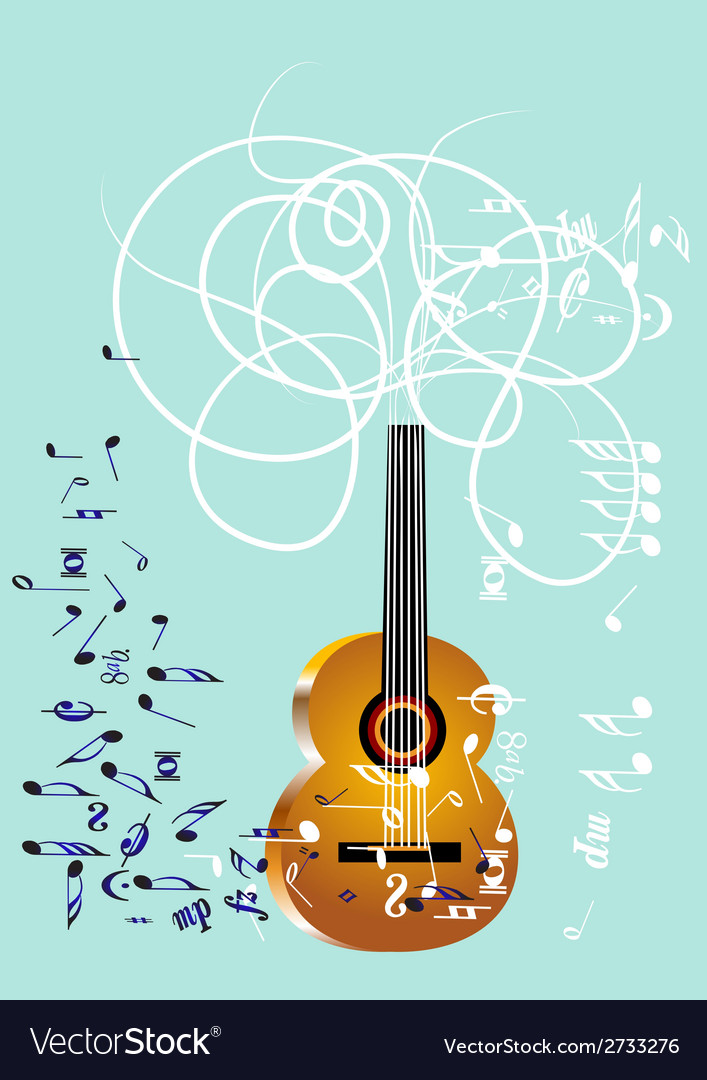 Musical background with guitar vector | Price: 1 Credit (USD $1)