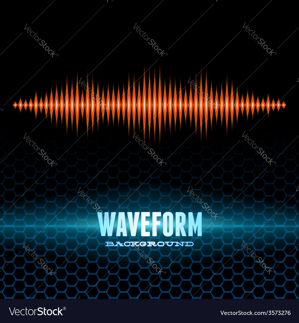 Orange shiny sound waveform on hex grid vector | Price: 1 Credit (USD $1)