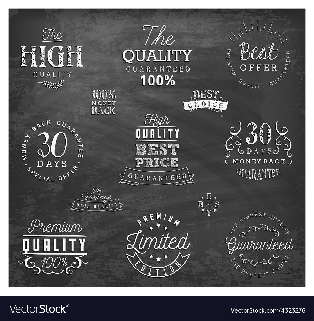 Premium quality badges and labels on chalkboard vector | Price: 1 Credit (USD $1)