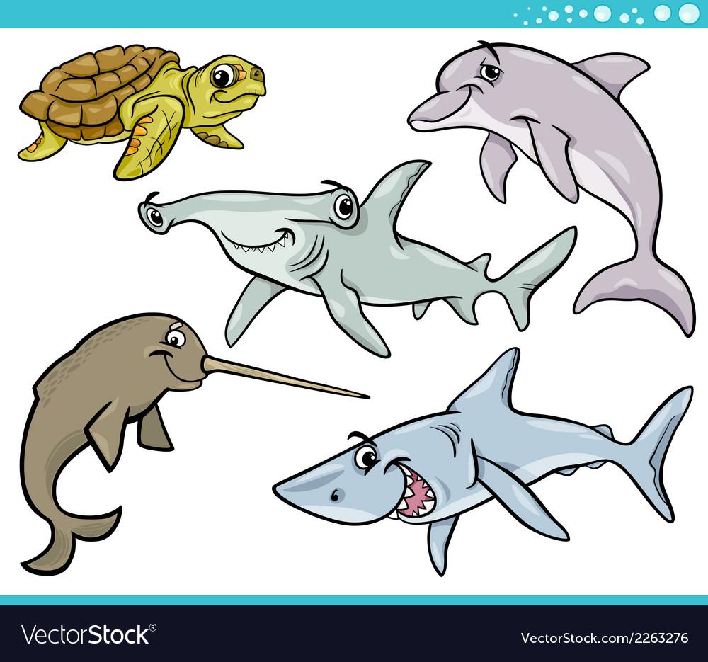 Sea life animals set cartoon vector | Price: 1 Credit (USD $1)