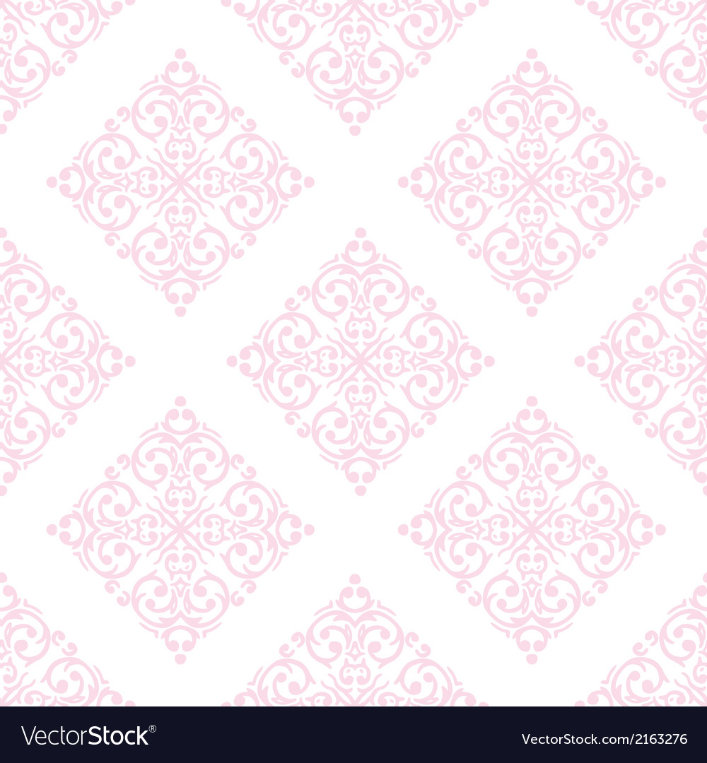 Seamless baroque damask luxury pink background vector | Price: 1 Credit (USD $1)