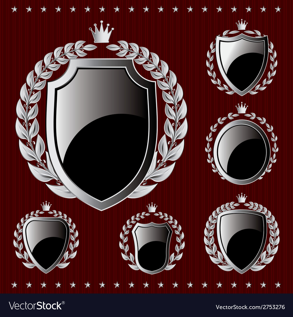 Set of silver emblem with shield and wreaths vector | Price: 1 Credit (USD $1)