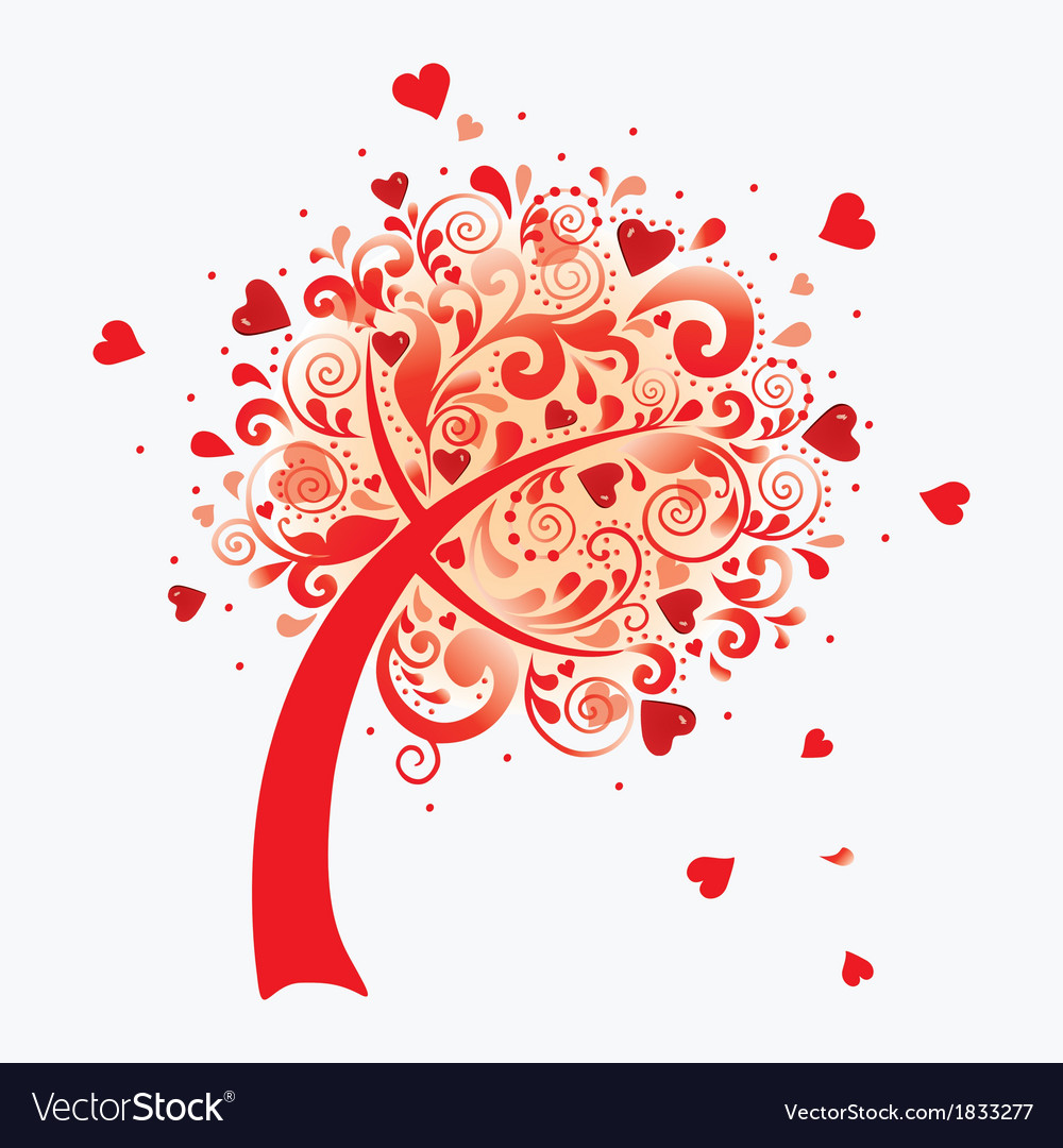 A love tree valentines postcard vector | Price: 1 Credit (USD $1)