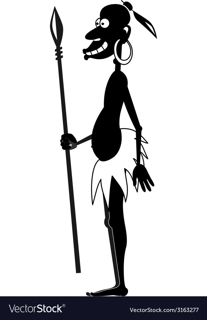 Aboriginal with spear bw vector | Price: 1 Credit (USD $1)