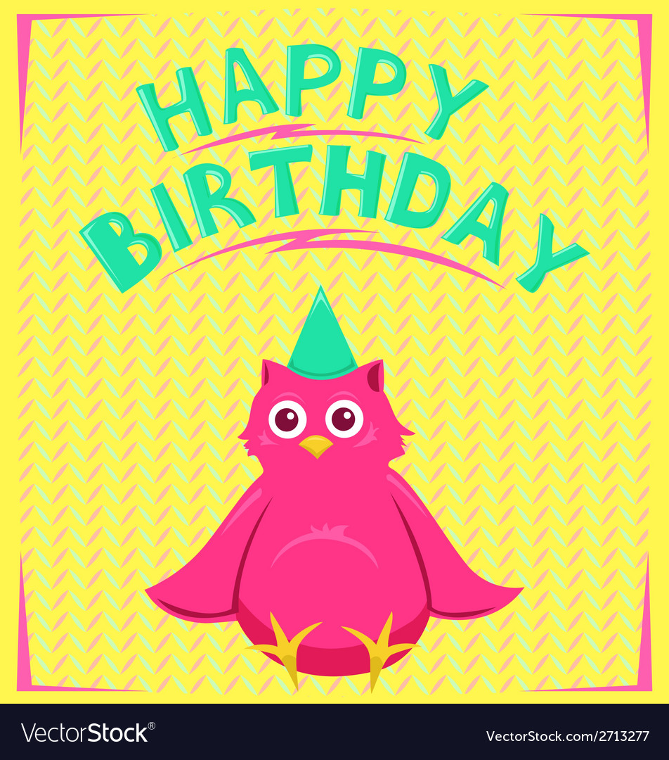 Birthday card with funny little bird in cartoon vector | Price: 1 Credit (USD $1)