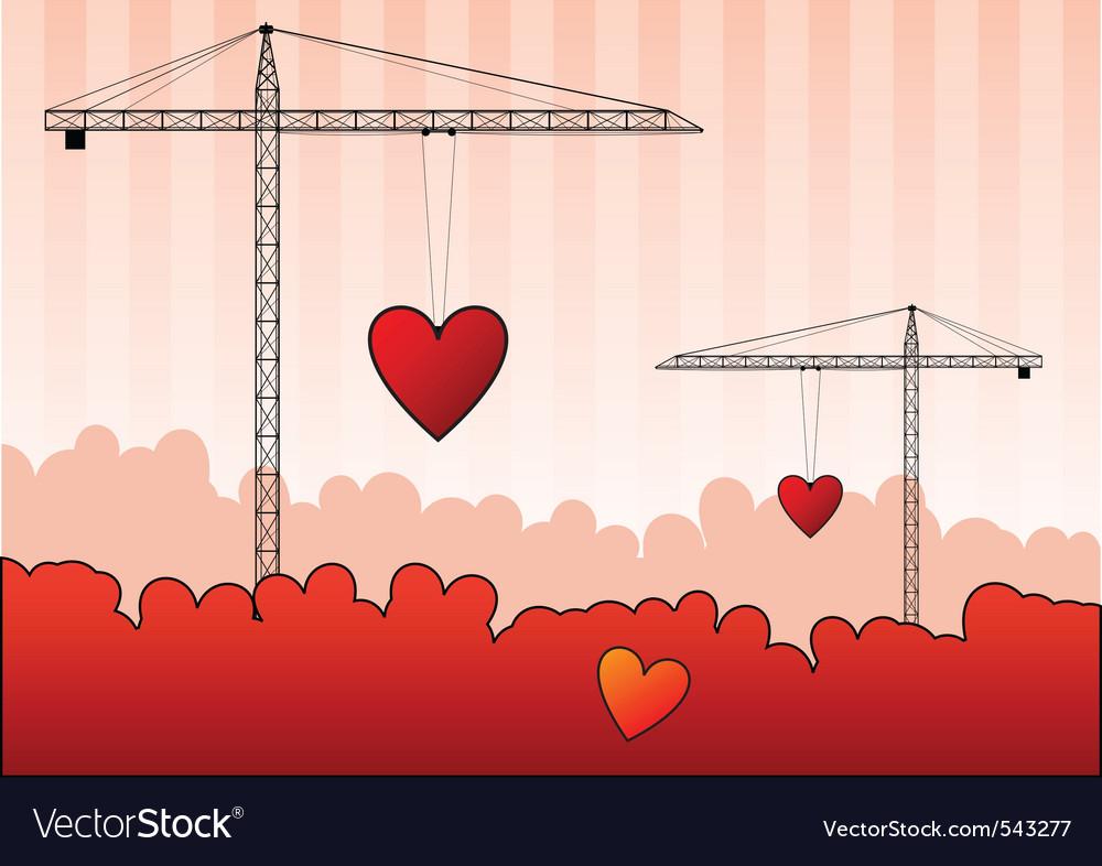 Black silhouettes of cranes with red heart vector | Price: 1 Credit (USD $1)